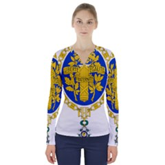 Coat O Arms Of The French Republic V Neck Long Sleeve Top by abbeyz71