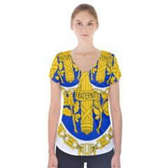 Coat Of Arms Of The French Republic Short Sleeve Front Detail Top by abbeyz71