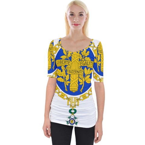 Coat Of Arms Of The French Republic Wide Neckline Tee by abbeyz71