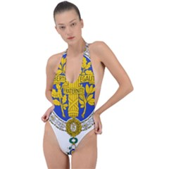 Coat Of Arms Of The French Republic, 1905-1953 Backless Halter One Piece Swimsuit by abbeyz71