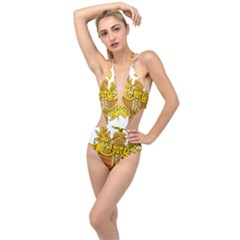 French Republic Diplomatic Emblem Plunging Cut Out Swimsuit by abbeyz71