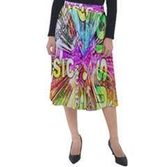 Music Abstract Sound Colorful Classic Velour Midi Skirt
