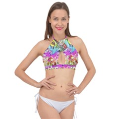 Music Abstract Sound Colorful Cross Front Halter Bikini Top
