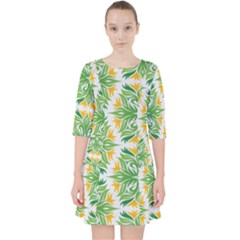 Green Pattern Retro Wallpaper Pocket Dress