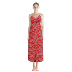 Background Abstraction Red Gray Button Up Chiffon Maxi Dress