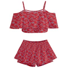 Background Abstraction Red Gray Kids  Off Shoulder Skirt Bikini