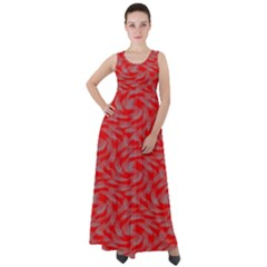 Background Abstraction Red Gray Empire Waist Velour Maxi Dress