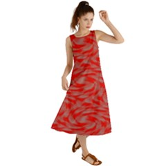 Background Abstraction Red Gray Summer Maxi Dress