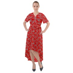 Background Abstraction Red Gray Front Wrap High Low Dress