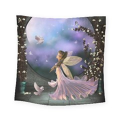 Little Fairy With Dove Square Tapestry (small) by FantasyWorld7