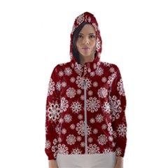 Snowflakes On Red Women s Hooded Windbreaker by bloomingvinedesign