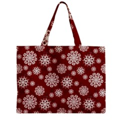 Snowflakes On Red Zipper Mini Tote Bag by bloomingvinedesign