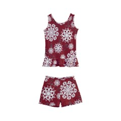 Snowflakes On Red Kids  Boyleg Swimsuit by bloomingvinedesign