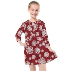 Snowflakes On Red Kids  Quarter Sleeve Shirt Dress by bloomingvinedesign