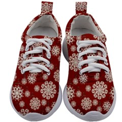 Snowflakes On Red Kids Athletic Shoes by bloomingvinedesign