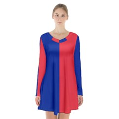 Flag Of Paris Long Sleeve Velvet V Neck Dress