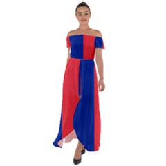 Flag Of Paris Off Shoulder Open Front Chiffon Dress by abbeyz71