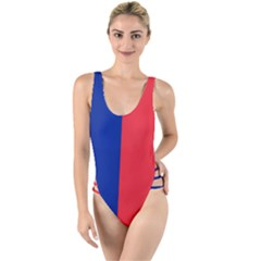 Flag Of Paris High Leg Strappy Swimsuit