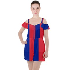 Flag Of Paris Ruffle Cut Out Chiffon Playsuit