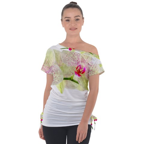 Phalenopsis Orchid White Lilac Watercolor Aquarel Tie-up Tee by picsaspassion
