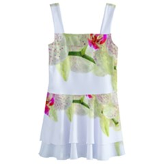 Phalenopsis Orchid White Lilac Watercolor Aquarel Kids  Layered Skirt Swimsuit by picsaspassion