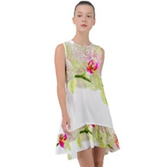 Phalenopsis Orchid White Lilac Watercolor Aquarel Frill Swing Dress