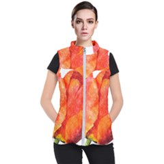 Spring Tulip Red Watercolor Aquarel Women s Puffer Vest by picsaspassion