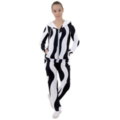 Wild Zebra Pattern Black And White Women s Tracksuit