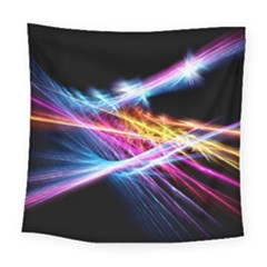 Colorful Neon Art Light Rays, Rainbow Colors Square Tapestry (large)