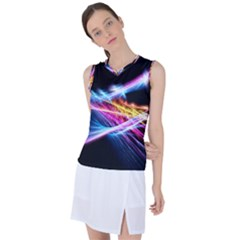 Colorful Neon Art Light Rays, Rainbow Colors Women s Sleeveless Mesh Sports Top