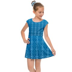 Background Texture Pattern Blue Kids  Cap Sleeve Dress