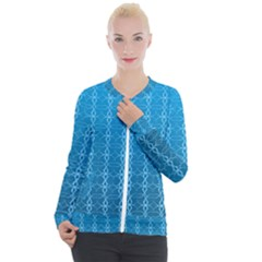 Background Texture Pattern Blue Casual Zip Up Jacket
