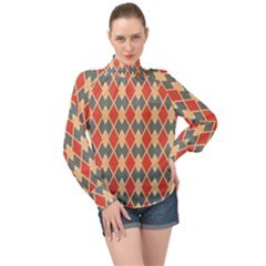 Illustrations Triangle High Neck Long Sleeve Chiffon Top
