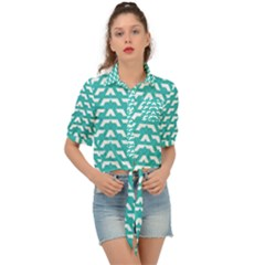 Background Pattern Colored Tie Front Shirt