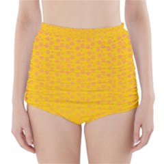 Background Polka Yellow High Waisted Bikini Bottoms