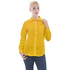 Background Polka Yellow Women s Long Sleeve Pocket Shirt