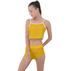 Background Polka Yellow Summer Cropped Co Ord Set by HermanTelo