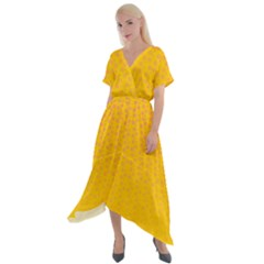 Background Polka Yellow Cross Front Sharkbite Hem Maxi Dress