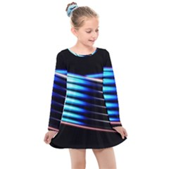 Motion Line Illustrations Kids  Long Sleeve Dress