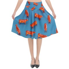 Illustrations Cow Agriculture Livestock Flared Midi Skirt by HermanTelo