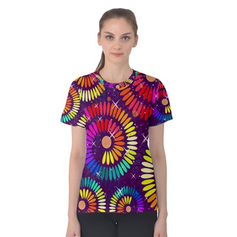 Abstract Background Spiral Colorful Women s Cotton Tee by HermanTelo