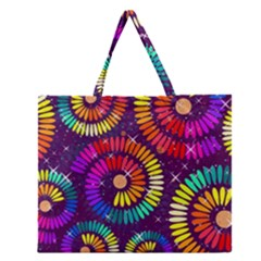 Abstract Background Spiral Colorful Zipper Large Tote Bag by HermanTelo