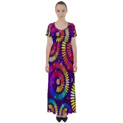Abstract Background Spiral Colorful High Waist Short Sleeve Maxi Dress by HermanTelo