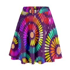 Abstract Background Spiral Colorful High Waist Skirt