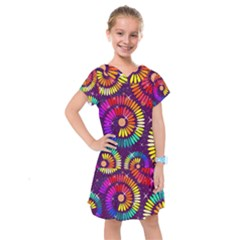 Abstract Background Spiral Colorful Kids  Drop Waist Dress