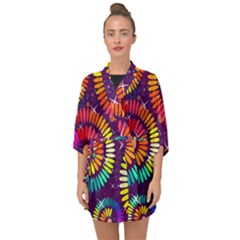 Abstract Background Spiral Colorful Half Sleeve Chiffon Kimono by HermanTelo