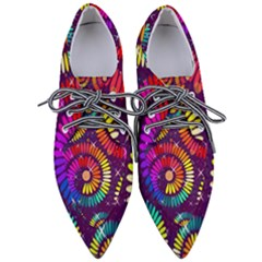 Abstract Background Spiral Colorful Women s Pointed Oxford Shoes