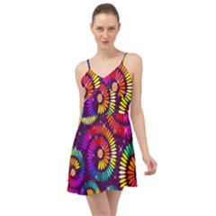 Abstract Background Spiral Colorful Summer Time Chiffon Dress