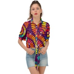 Abstract Background Spiral Colorful Tie Front Shirt  by HermanTelo