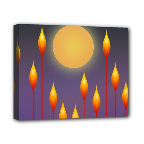 Night Moon Flora Background Canvas 10  x 8  (Stretched)